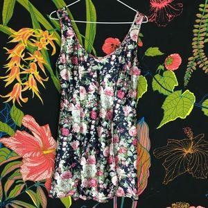 VINTAGE / Floral Silky Night Slip Or Mini Dress